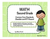 Common Core Math Standards and RTI Checklist Second Grade