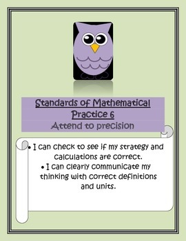 Common Core Math Standards of Practice Owl Posters