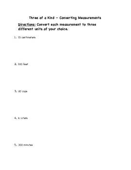 """Common Core Math Stations and Games - """"3 of a Kind"""" Converting Measurements"""