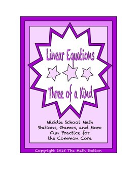 """Common Core Math Stations and Games - """"3 of a Kind"""" Linear"""