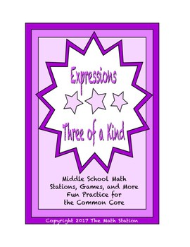 "Common Core Math Stations and Games - ""3 of a Kind"" Numerical Expressions"