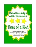 """Common Core Math Stations and Games - """"3 of a Kind"""" Relationships with Percents"""
