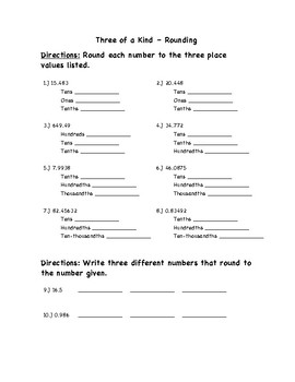 "Common Core Math Stations and Games - ""3 of a Kind"" Rounding"