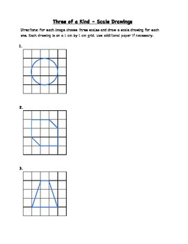 """Common Core Math Stations and Games - """"3 of a Kind"""" Scale Drawings"""