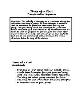 """Common Core Math Stations and Games - """"3 of a Kind"""" Transformation Sequences"""