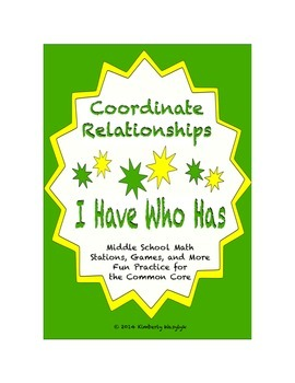 Common Core Math Stations and Games - Coordinate Relations