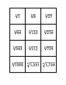Common Core Math Stations and Games - Cube Root Math Match