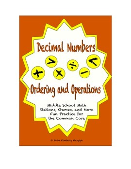 Common Core Math Stations and Games - Decimals Ordering an