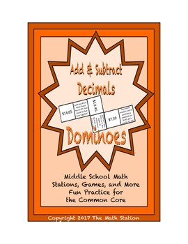 """Common Core Math Stations and Games - """"Dominoes"""" Add & Subtract Decimals"""