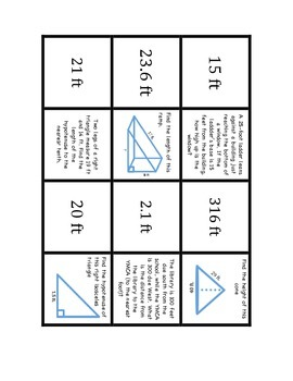 """Common Core Math Stations and Games - """"Dominoes"""" Pythagorean Theorem"""