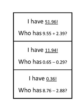 "Common Core Math Stations and Games - ""I Have Who Has"" Add & Subtract Decimals"