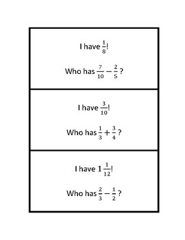 """Common Core Math Stations and Games - """"I Have Who Has"""" Add & Subtract Fractions"""