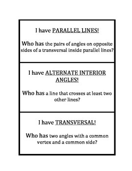 "Common Core Math Stations and Games - ""I Have Who Has"" Angles and Transversals"