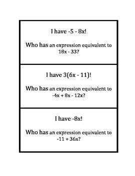 """Common Core Math Stations and Games - """"I Have Who Has"""" Equivalent Expressions"""