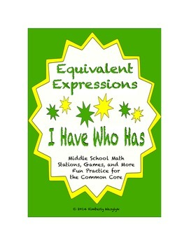 "Common Core Math Stations and Games - ""I Have Who Has"" Equ"