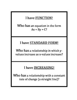 """Common Core Math Stations and Games - """"I Have Who Has"""" Functions"""