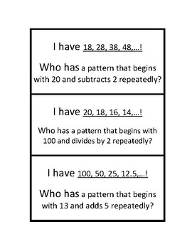 """Common Core Math Stations and Games - """"I Have Who Has"""" Patterns"""