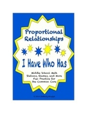 """Common Core Math Stations and Games - """"I Have Who Has"""" Percent and Proportion"""