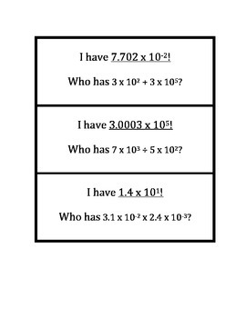 """Common Core Math Stations and Games - """"I Have Who Has"""" Scientific Notation"""