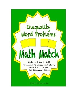 Common Core Math Stations and Games - Inequality Word Problems Math Match