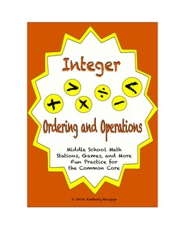 Common Core Math Stations and Games - Integers Ordering and Operations