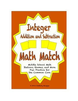 """Common Core Math Stations and Games - """"Math Match"""" Add & Subtract Integers"""