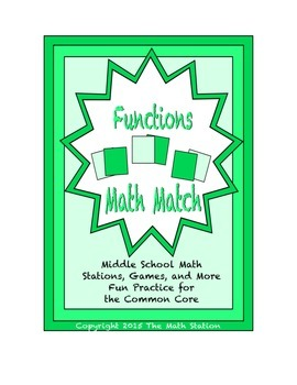 "Common Core Math Stations and Games - ""Math Match"" Functions"