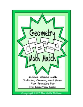 """Common Core Math Stations and Games - """"Math Match"""" Geometry"""
