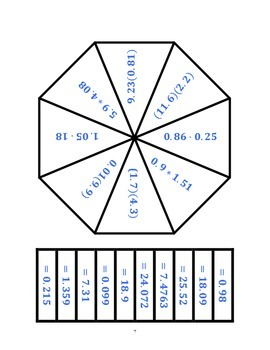 Common Core Math Stations and Games - Multiplying Decimals Poly Problem Solvers