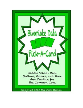 Common Core Math Stations and Games - Pick-a-Card - Bivariate Data