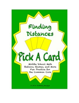 Common Core Math Stations and Games - Pick-a-Card Finding Distances