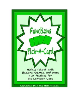 Common Core Math Stations and Games - Pick-a-Card - Functions