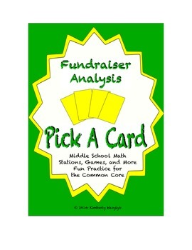 Common Core Math Stations and Games - Pick-a-Card Fundraising Analysis