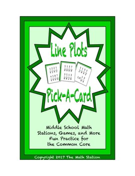 Common Core Math Stations and Games - Pick-a-Card - Line Plots