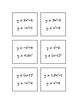 Common Core Math Stations and Games - Pick-a-Card - Nonlinear Relationships