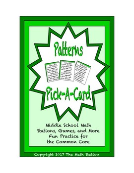 Common Core Math Stations and Games - Pick-a-Card - Patterns