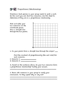 Common Core Math Stations and Games - Pick-a-Card - Proportional Relationships