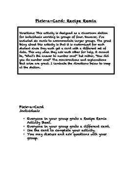 Common Core Math Stations and Games - Pick-a-Card Ratios Recipe Remix