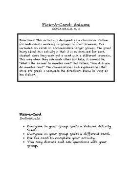 Common Core Math Stations and Games - Pick-a-Card - Volume