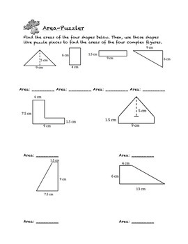 Common Core Math Stations and Games - Problem-Solving Area Puzzler