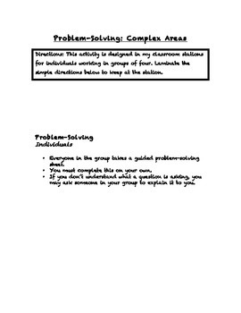 Common Core Math Stations and Games - Problem-Solving Complex Area
