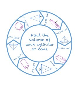 "Common Core Math Stations and Games - ""Roundabouts"" Cylinder & Cone Volume"