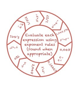 """Common Core Math Stations and Games - """"Roundabouts"""" Exponent Operations"""