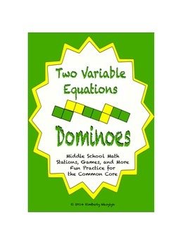 Common Core Math Stations and Games - Two-Variable Equations Dominoes