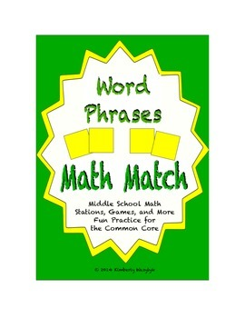 Common Core Math Stations and Games - Word Phrases Math Match