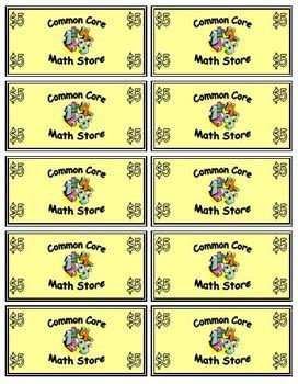 Common Core Math Store Money