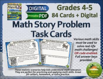 Math Multi-Step Word Problem Activities Cards for 4th grade and 5th grade