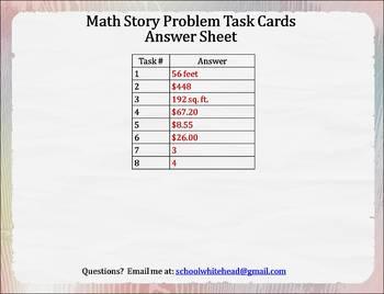 Math Word Problem Task Cards (8) - FREE