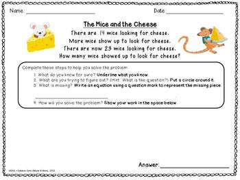 Common Core Math Story Problems - Unknown Change, 2nd Grade CCSS 2.OA.1, 2.OA.2