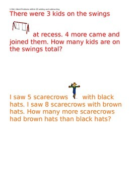 Common Core Math Story Problems for Fall